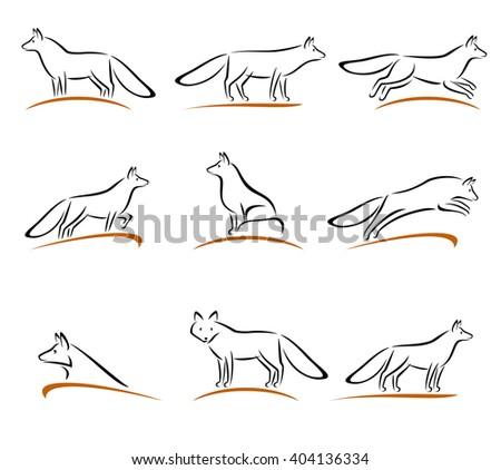 Fox set. Vector - stock vector