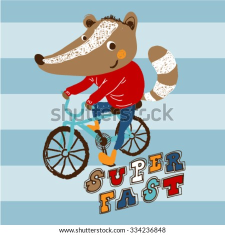 Fox with ares shirt riding a blue bicycle. Trendy children graphic. Vector illustration. T-Shirt Design for children. Design elements for kids.