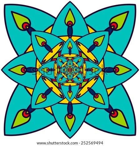 Fractal ethnic element. Kaleidoscope mandala. - stock vector