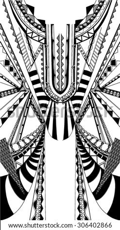 Fractal Geometric Printfree Hand Drawn Vector Stock Vector ...