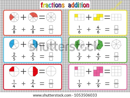 Fractions Addition Printable Fractions Worksheets Kids Stock Photo ...