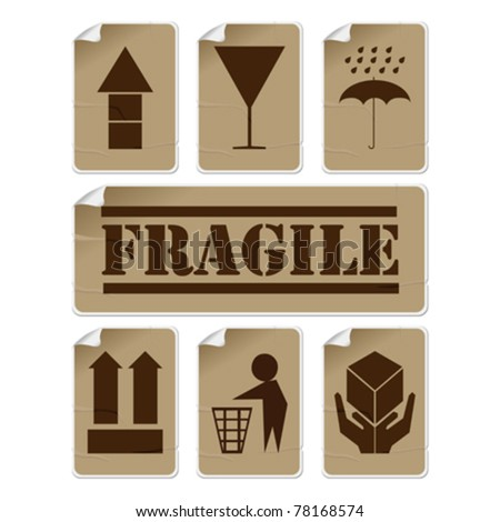 Fragile and safety badly glued stickers, isolated and grouped objects against white background