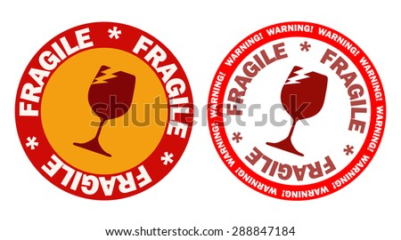 Fragile Glass Round Sign Stickers, Vector Illustration.  - stock vector