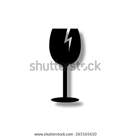fragile glass - vector icon with shadow - stock vector