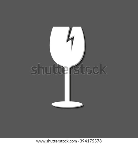 fragile glass - white vector icon  with shadow - stock vector