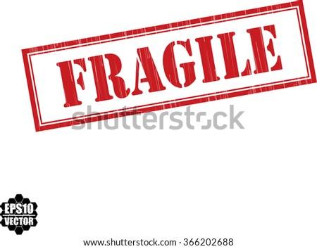 Fragile grunge rubber stamp, vector illustration - stock vector