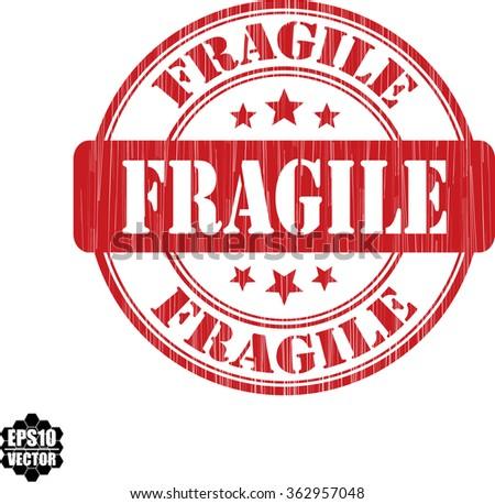 Fragile grunge stamp.Vector. - stock vector