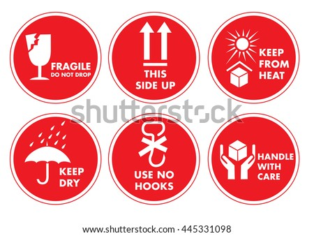 Fragile Handle with Care Label Sticker - stock vector