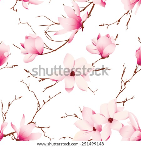 Fragile magnolia flowers seamless vector pattern  - stock vector