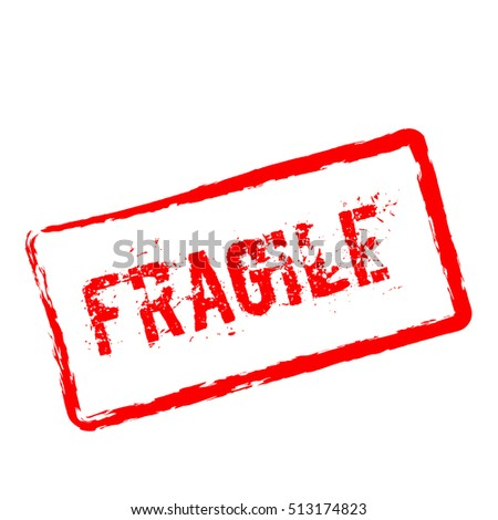 Fragile red rubber stamp isolated on white background. Grunge rectangular seal with text, ink texture and splatter and blots, vector illustration.