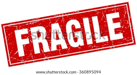 fragile red square grunge stamp on white - stock vector