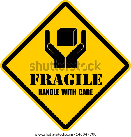 Fragile, sticker, vector