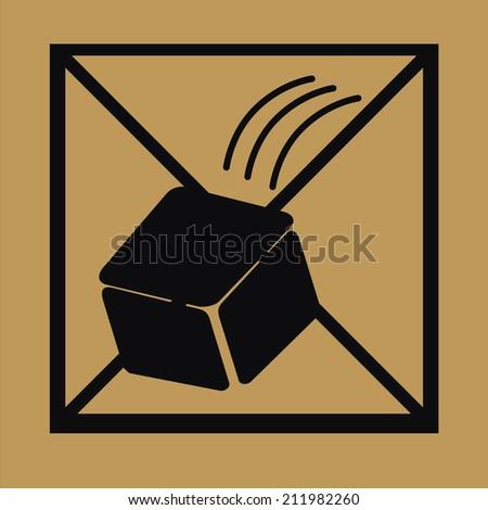 Fragile symbol on cardboard background, do not throw box - stock vector
