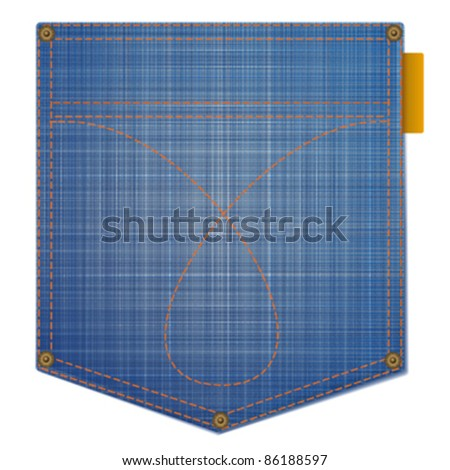 fragment of blue jeans with pocket on white background - stock vector
