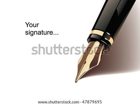 fragment of fountain pen isolated on white background - stock vector