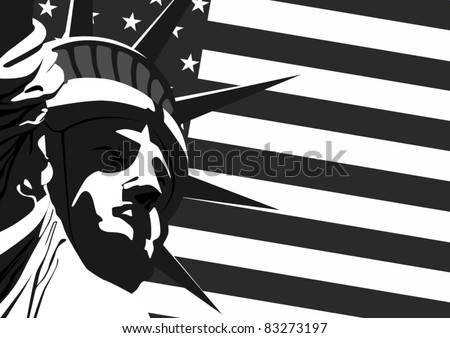 """Fragment of """"Statue of Liberty"""" against the U.S. flag. - stock vector"""
