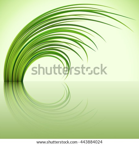 Fragment of the green grass on green background. Vector illustration. - stock vector