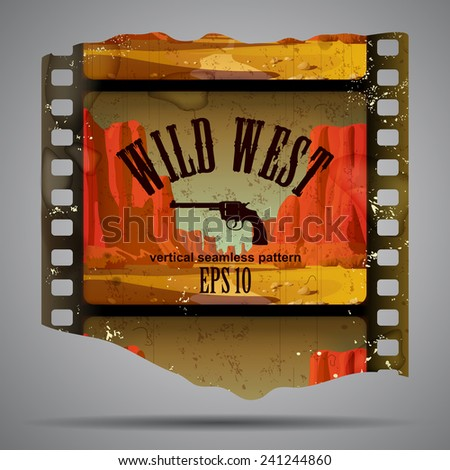 Fragment of vintage western film strip with big canyon. Vector illustration - stock vector