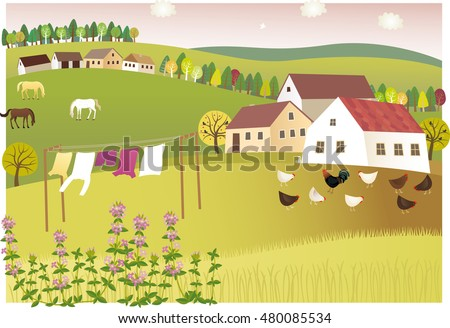 Fragrance of summer home. Vector illustration of peaceful and sweet-scented summer village.