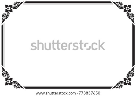 Frame Borders Black White Thai Pattern Stock Photo (Photo, Vector ...