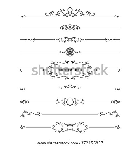 Frame and dividers set isolated on white. Calligraphic design elements.