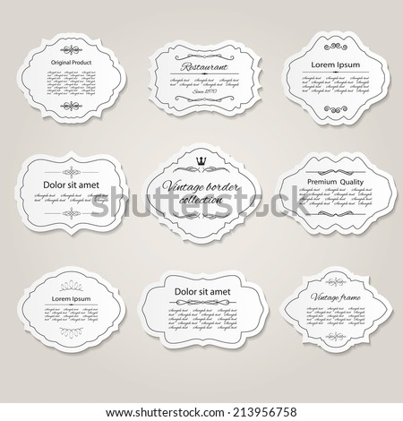 Frame and label set with calligraphic design elements.  - stock vector
