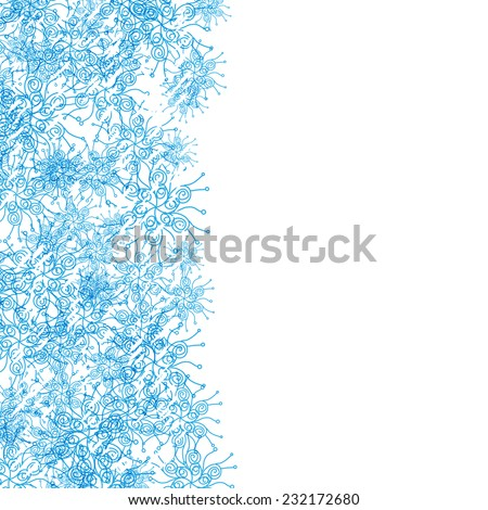 frame border with blue snowflakes - stock vector