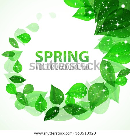 frame branch with fresh green leaves with sparkles. Vector Illustration - stock vector