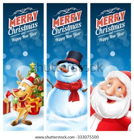 frame christmas snow tree santa claus - stock vector