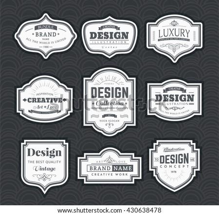 Frame classic template. Vintage contour blank frames and labels. Vintage elements design for cafe, restaurant, boutique, hotel, shop, jewelry. Vector retro elements - stock vector