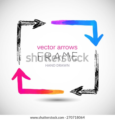Frame collected from black hand drawn and colorful watercolor arrows, square shape, vector illustration. - stock vector