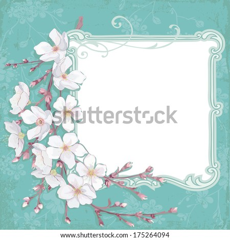 Frame composition with blossoming cherry branch - stock vector