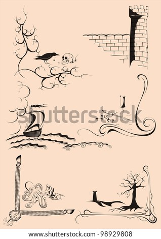 frame corners graphically in the baroque-Romanesque style, with different stories - stock vector