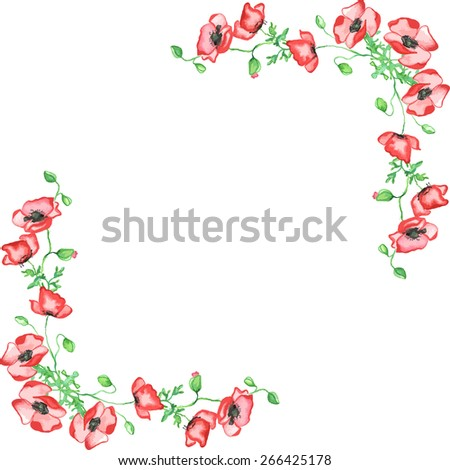 Frame corners with watercolor tulips. Vector illustration