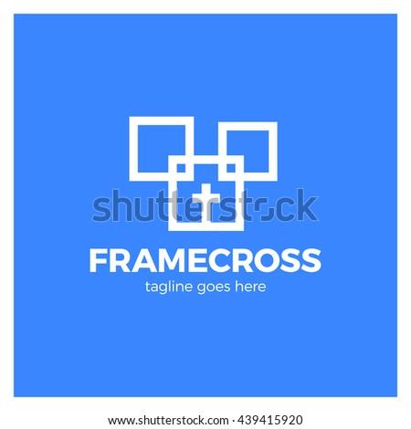 Frame Cross Church Logo. Christian Box Square Logotype. Blue background - stock vector