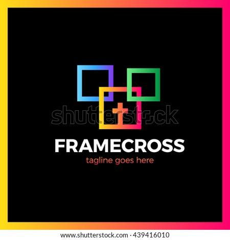 Frame Cross Church Logo. Christian Box Square Logotype. Three color gradient - stock vector