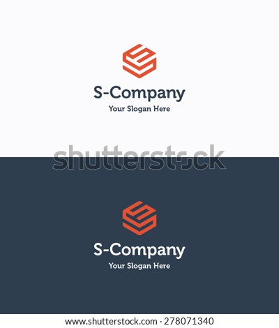 Frame cube 3D logo company template with letter S - stock vector