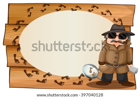 Frame design with spy and footprinted illustration - stock vector