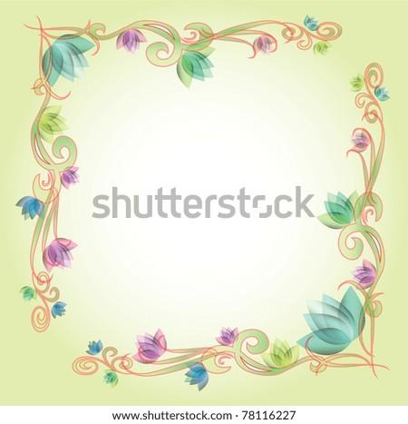 frame flower background - stock vector