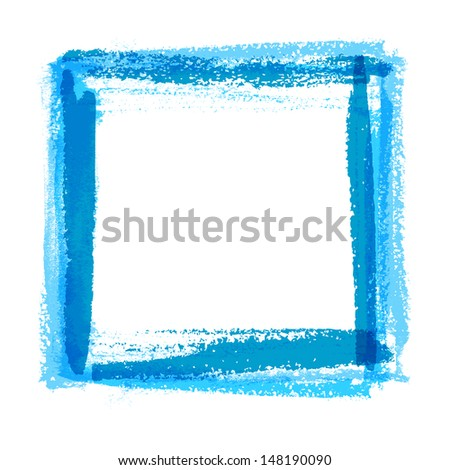 Frame for design of textured brush strokes paint on paper - stock vector