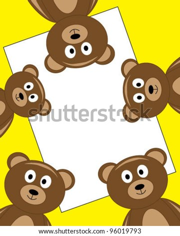 Frame for greeting card with bears - stock vector