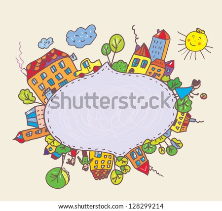 Frame for kids with town and children funny design - stock vector