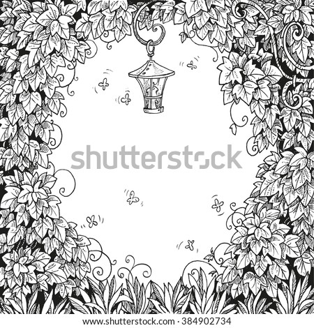 Frame for text decoration Enchanted Forest with a flashlight and ivy black and white
