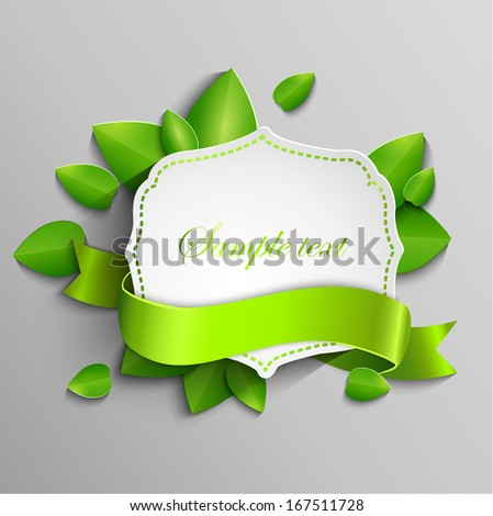 Frame for text in a vintage style with a ribbon against the background paper leaves - stock vector