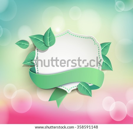 Frame for text in a vintage style with a ribbon on the light spring bokeh background with leaves, vector illustration. - stock vector