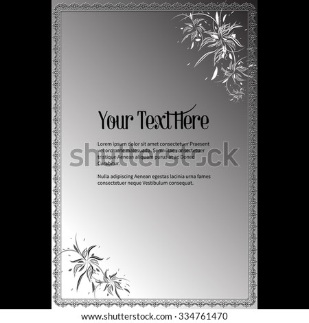 Frame for text with elegant abstract floral motif  - stock vector