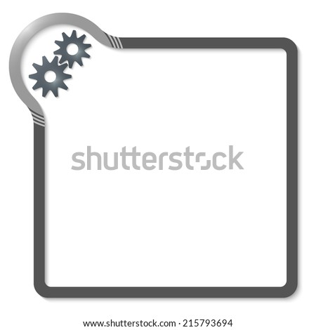 frame for text with gray corner and cogwheels - stock vector