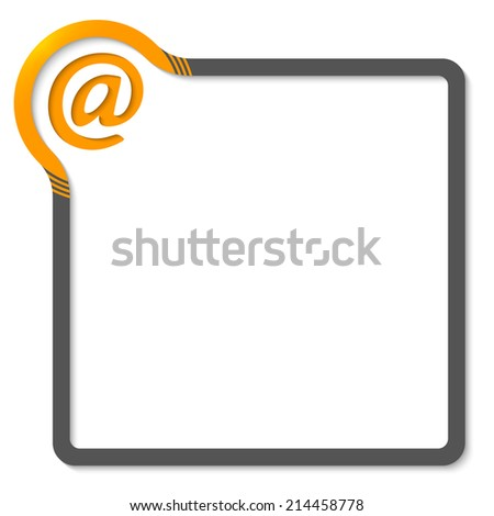frame for text with yellow corner and email symbol - stock vector