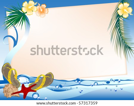Frame for your text against the seascape - stock vector