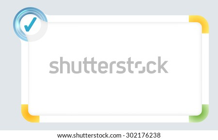 Frame for your text with colored corners and check box - stock vector